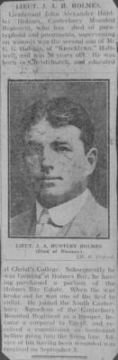 Photograph: Obituary for Lieutenant J A Huntley Holmes (newspaper)