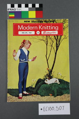 """magazine, knitting pattern: """"Modern Knitting. The monthly magazine for machine knitters"""", Mar/Apr 1964 issue (New Zealand edition)"""