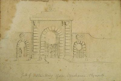 Drawing: Gate of Victualling Office, Stonehouse, Plymouth; 1835-1837; 19XX.2.1525