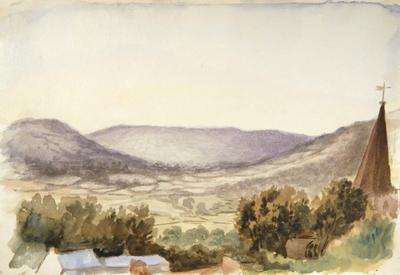 Painting: A sunset at Crickhowell, July 8th 1837