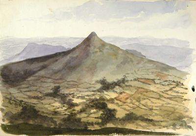 Painting: View of the Sugarloaf Mountain near Crickhowell taken from the top of the Darren, July 10th 1837