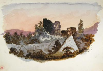 Painting: Brecon Castle after sunset, July 10th 1837