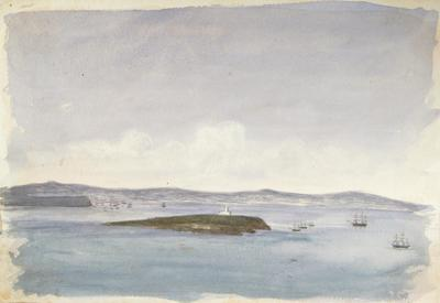 Painting: The Flat Holmes [Holm] from the top of the Steep Holmes [Holm], July 1837