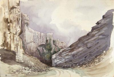 Painting: Two Views of Cheddar Rocks, August 1837