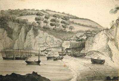Drawing: Beer Bay from Seaton Hole, Seaton, June 1835
