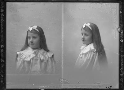 Glass Plate Negative: Mrs B Coleman - Girl (twin negative)