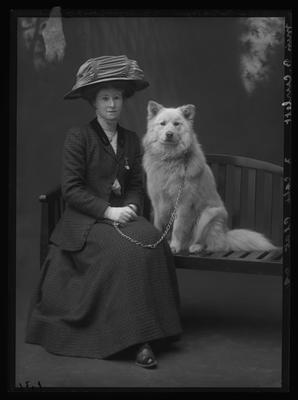 Glass Plate Negative: Miss Beatrice Curlett and dog This is Erebus