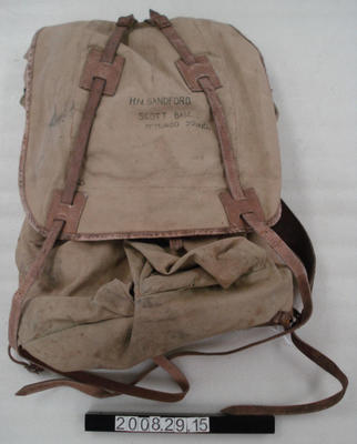 External frame canvas backpack.