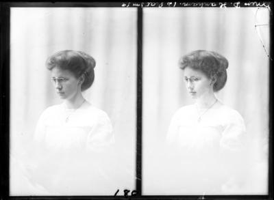 Glass Plate Negative: Miss Hanham (twin negative)