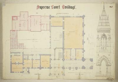 Bury & Mountfort Architectural Plan: Supreme Court Building, Christchurch, 1867