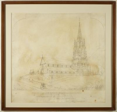 Mountfort Drawing: Church of the Most Holy Trinity, Lyttelton, 1852