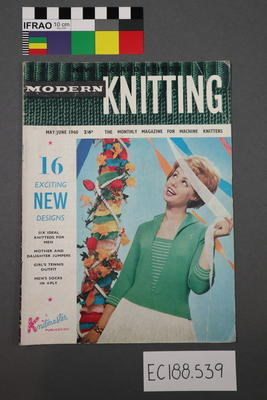 "Magazine, knitting pattern:  ""Modern Knitting.  The monthly magazine for machine knitters"",  May/June 1960 issue (New Zealand edition) AND knitting yarn label : Aotea 4-ply crepe"