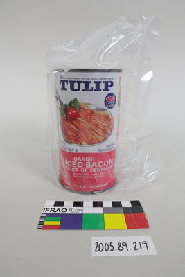 "Tin of ""Tulip"" Danish sliced bacon"