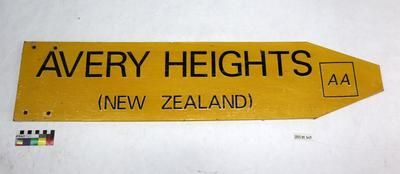 """Yellow sign AA """"Avery Heights (New Zealand)"""""""