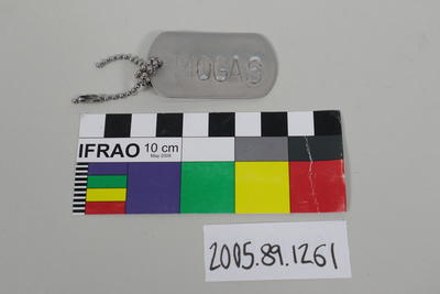 Dog tag for fuel can