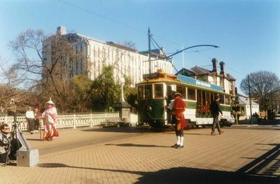 Colour Photograph: Tram and Town Crier on Worcester Street Bridge, c 1995