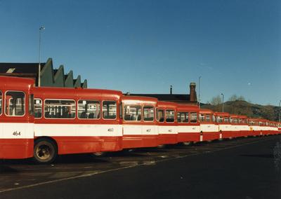 Colour Photograph: Red Bus Depot, Fitzgerald Avenue, 1985