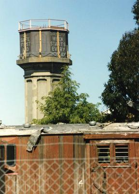 Colour Photograph: Addington Railway Workshops Water Tower, 1985