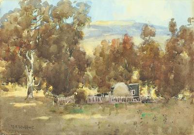 Painting: Cottage & Stable, Diamond Harbour