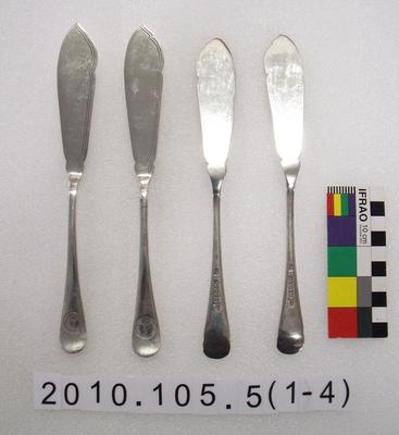 Set of fish knives and dinner forks with emblem of the Terra Nova expedition