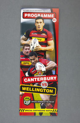 Programme: Canterbury versus Wellington, Free Earthquake Match 25 September 2010; 25 Sep 2010; 2010.132.2