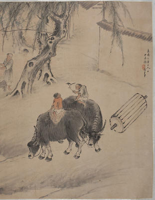 Painting: figures and buffalo