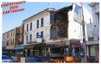 Postcard: Christchurch 2010 Earthquake Series: Manchester Street Shops Near Tuam Street; 2010; 2011.85.3