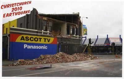 Postcard: Christchurch 2010 Earthquake Series: Ascot TV on Colombo Street; 2010; 2011.85.5