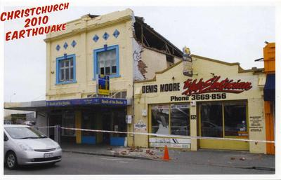 Postcard: Christchurch 2010 Earthquake Series: South of the Border Restaurant and Denis Moore Auto Electrician