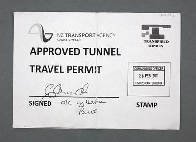 Travel Permit: Lyttelton Tunnel, February 26 2011