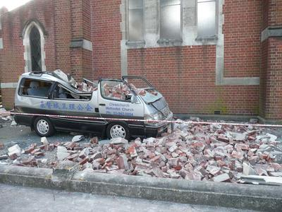 Digital Photograph: Van outside Christchurch Chinese Methodist Church