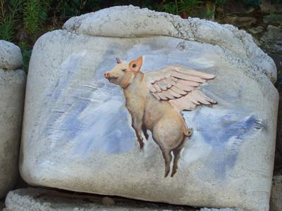 Digital Photograph: Painting on Retaining Wall, Flying Pig