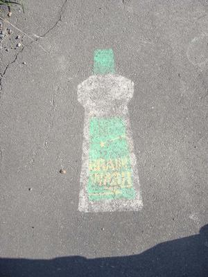 Digital Photograph: Bottle painted on footpath
