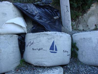 "Digital Photograph: Painting on Retaining Wall, ""Sailing Away?"""