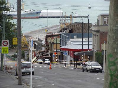 Digital Photograph:  Earthquake damage in Oxford Street, Lyttelton