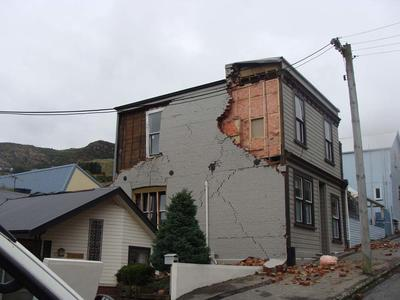 Digital Photograph:  Earthquake damage on  Canterbury Street, Lyttelton