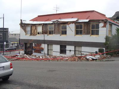 Digital Photograph:  Earthquake damage on corner of Canterbury and London Streets, Lyttelton