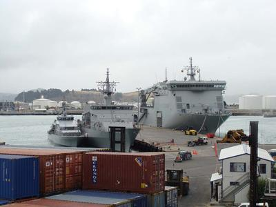 Digital Photograph: Her Majesty's New Zealand Ships Canterbury, Otago and Pukaki berthed at Number Seven Wharf, Lyttelton