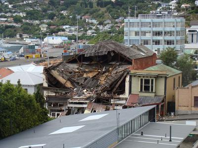 Digital Photograph: Earthquake Damage to the Norton Buildings on Oxford Street, Lyttelton; 25 Feb 2011; 2013.17.28