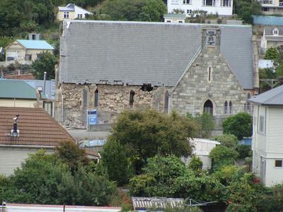Digital Photograph:  Earthquake damage to St Joseph's Church, Winchester Street, Lyttelton