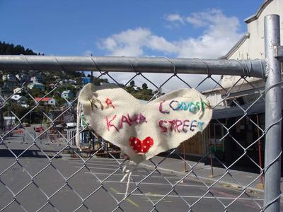 Digital Photograph: Decoration on Safety Fence on London Street, Lyttelton