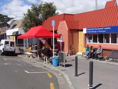 Digital Photograph: Temporary Lyttelton Coffee Company Stall, London Street, Lyttelton