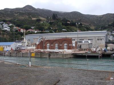 Digital Photograph: Demolition of the Dry Dock Pump House, Lyttelton