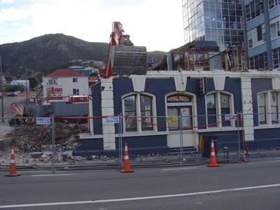 Digital Photograph: Demolition of the Royal Hotel, corner of Norwich Quay and Canterbury Street, Lyttelton