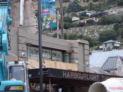 Digital Photograph: Demolition of the Harbourlight Theatre on London Street, Lyttelton; 27 Apr 2011; 2013.17.50