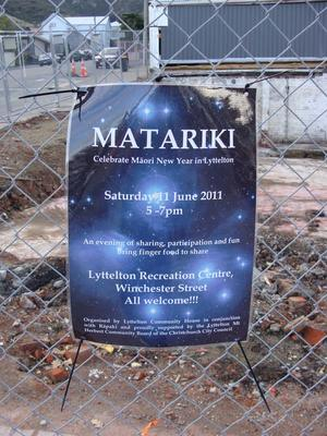 Digital Photograph: Sign Advertising a Matariki celebration in Lyttelton