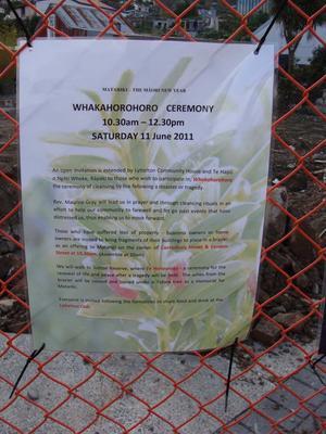 Digital Photograph: Sign Advertising Whakahorohoro Ceremony in Lyttelton