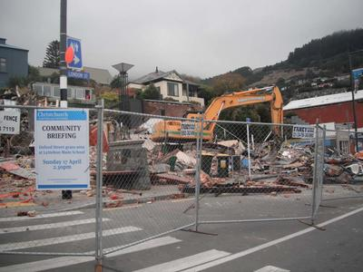 Digital Photograph:  Demolition on  the Corner of Canterbury and London Streets, Lyttelton