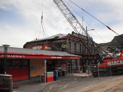 Digital Photograph: Demolition of the Empire Hotel, London Street, Lyttelton