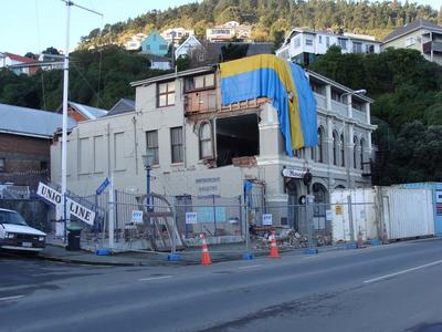 Digital Photograph: Earthquake Damage to Lyttelton Historical Museum on Gladstone Quay, Lyttelton; 14 Jul 2011; 2013.17.78